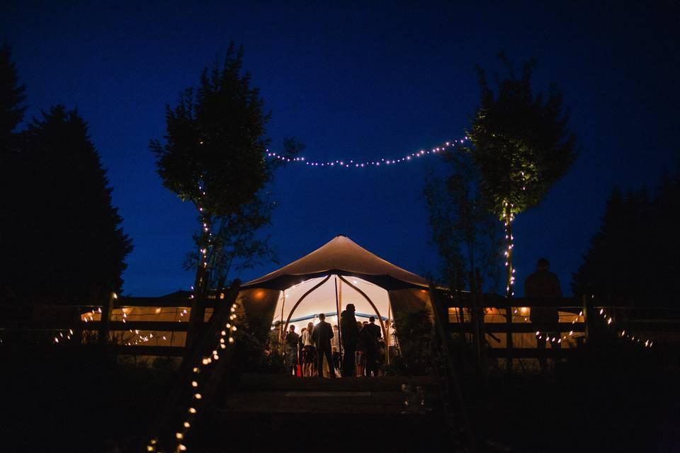 Wedding tent by night