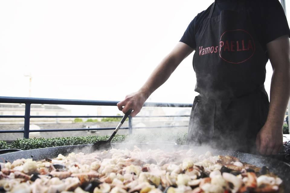 Paella cooked fresh