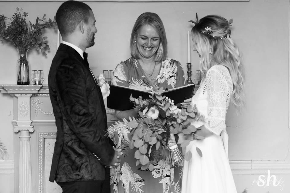 Smiles during wedding vows