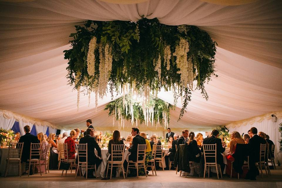 Marquee with hanging florals