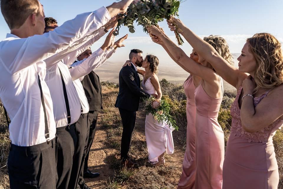 Framing the bride & groom