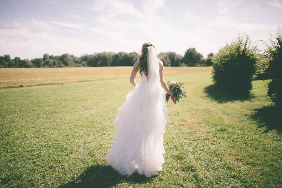 Walking through a field