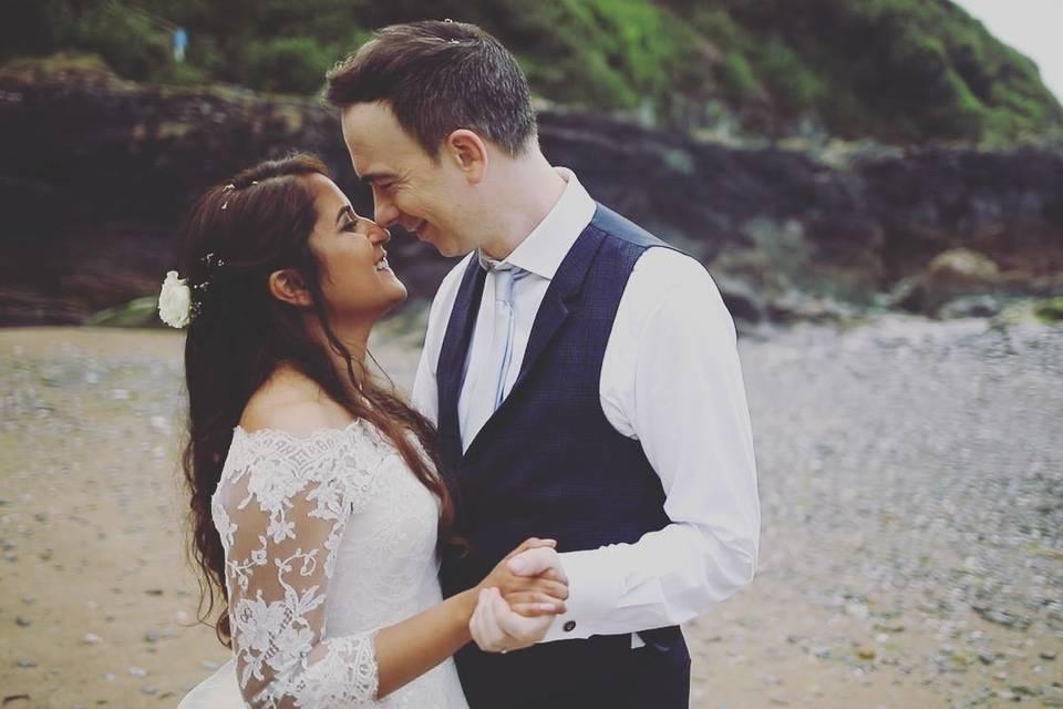 Newlyweds on the beach - Motion Farm Wedding Films