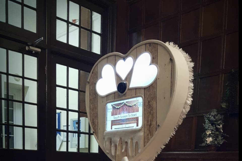 Rustic heart photo booth