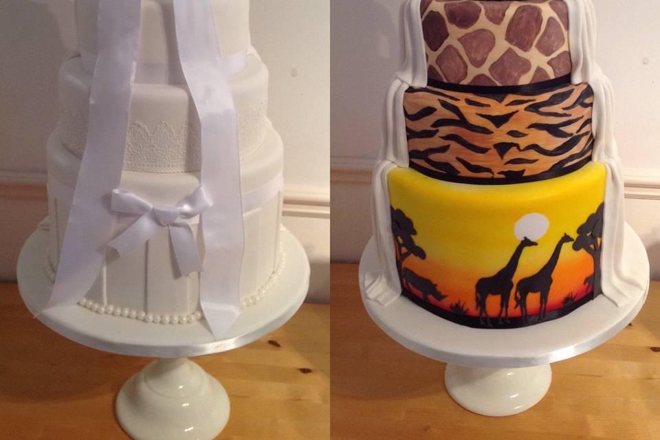 Safari themed wedding cake