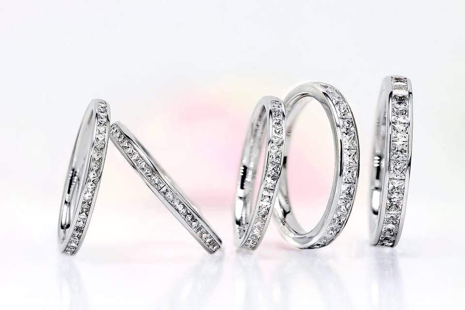 AVA Princess cut diamond rings