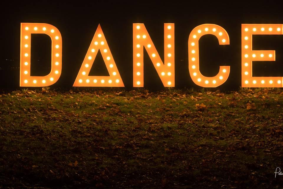 Light-up DANCE sign