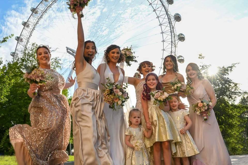 Bridal party at the London Eye