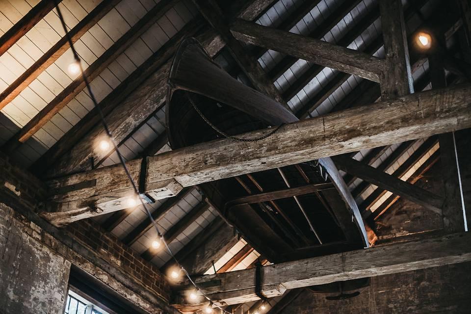 Exposed wooden beams