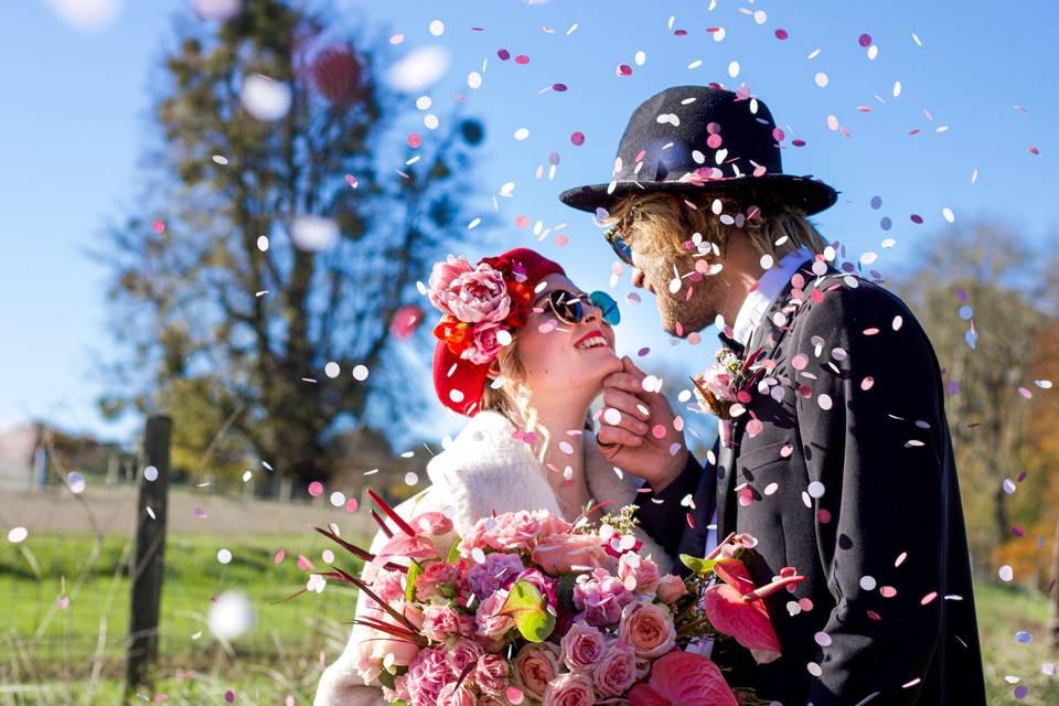 Cinematic wedding photo