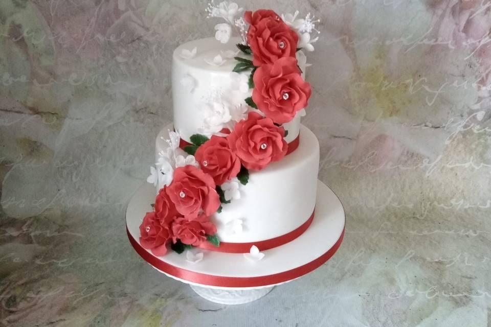 Cascading roses cake decor