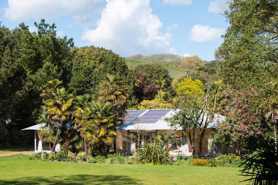 Pavilion nestled among the trees