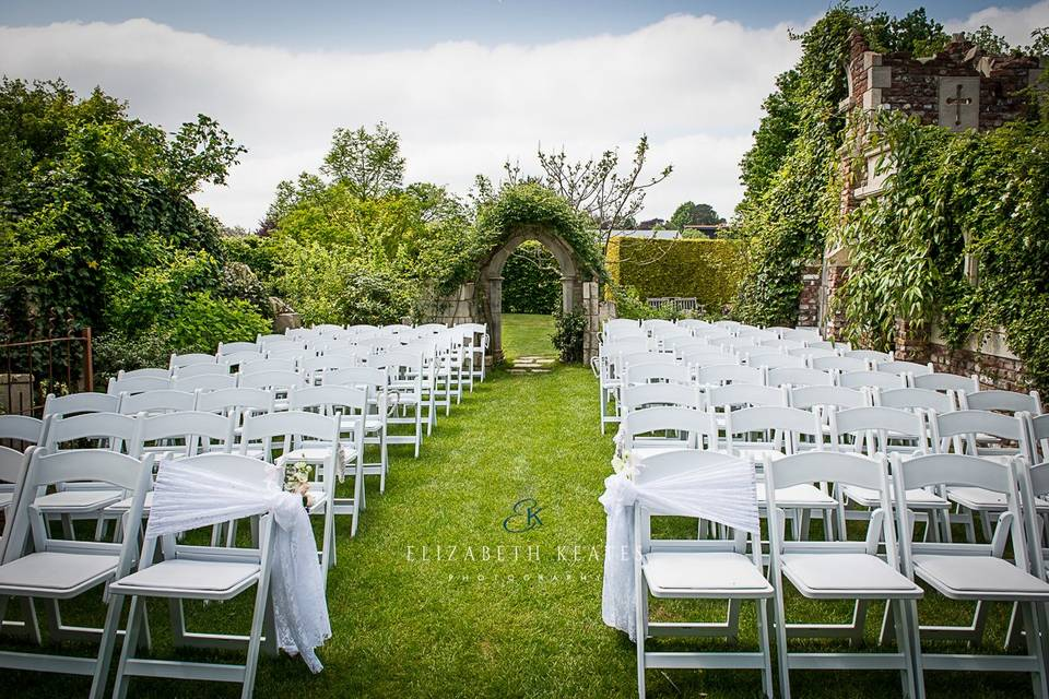 Wedding ceremony in the Old Manor House Garden