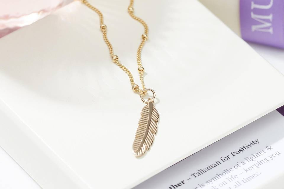 Positivity feather necklace