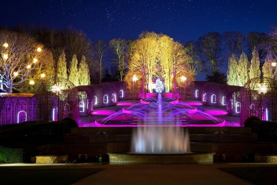 The Alnwick Garden Cascade at night
