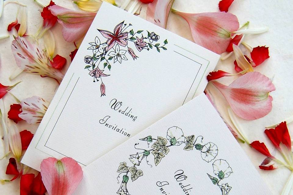 Hand-tinted floral invitations