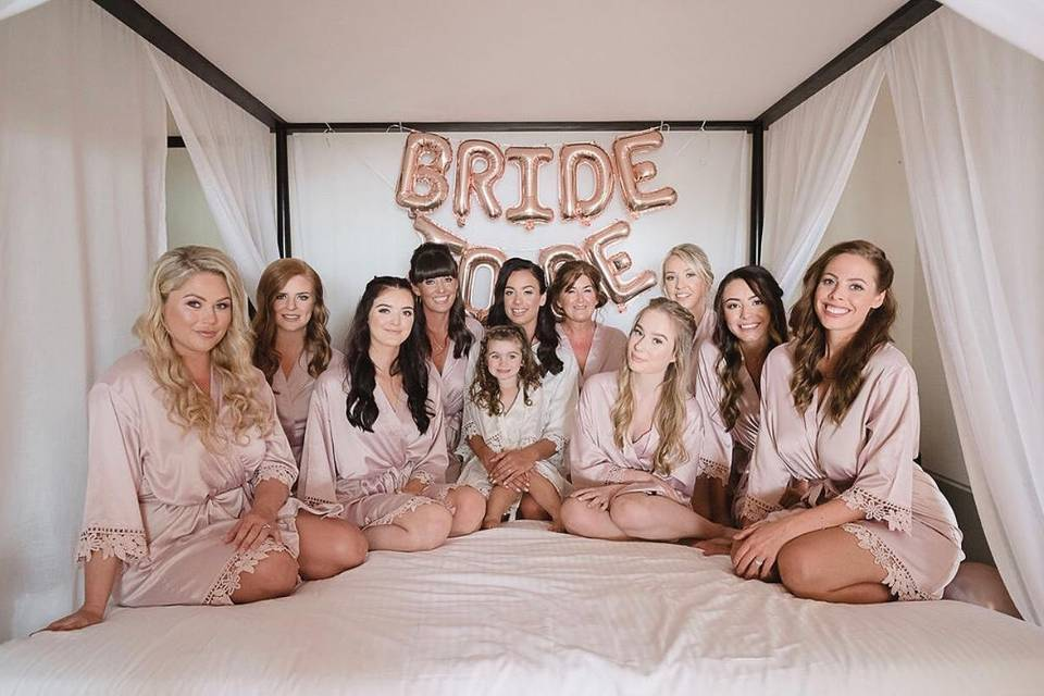 Wedding party in robes