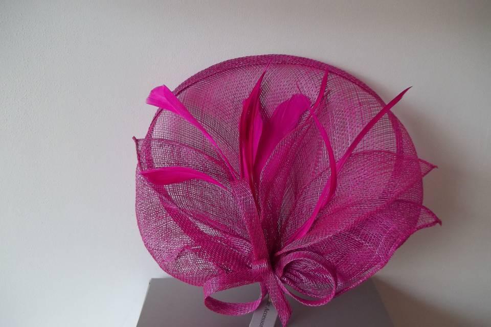 Pink hessian clip fascinator