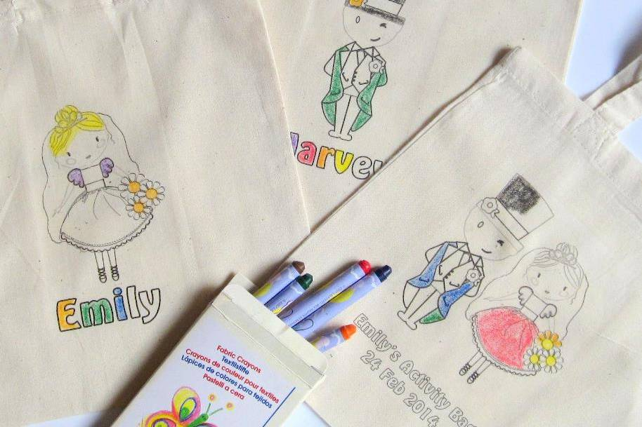 Colour in activity bags
