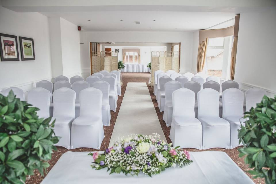 Ceremony room all ready for the brides entrance