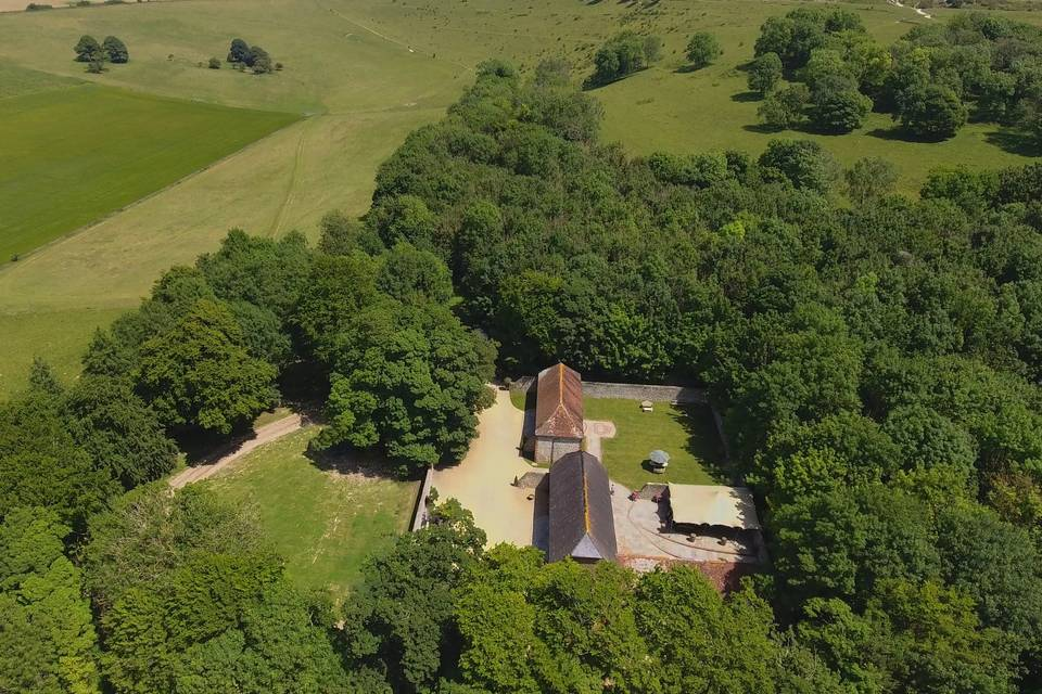 Aerial view of the Barns