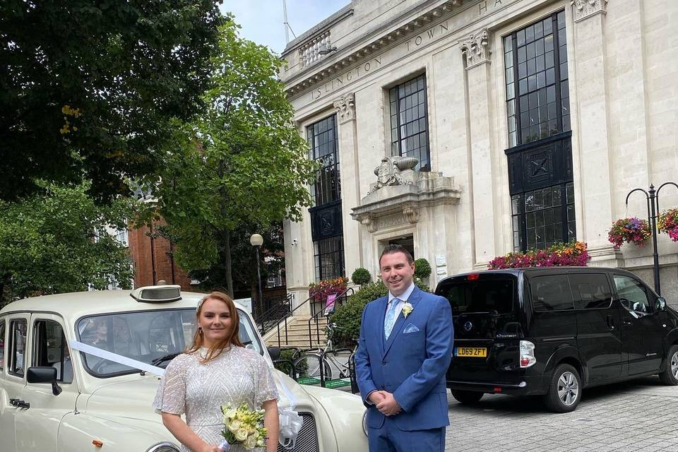 The Lovely couple outside Islington town hall