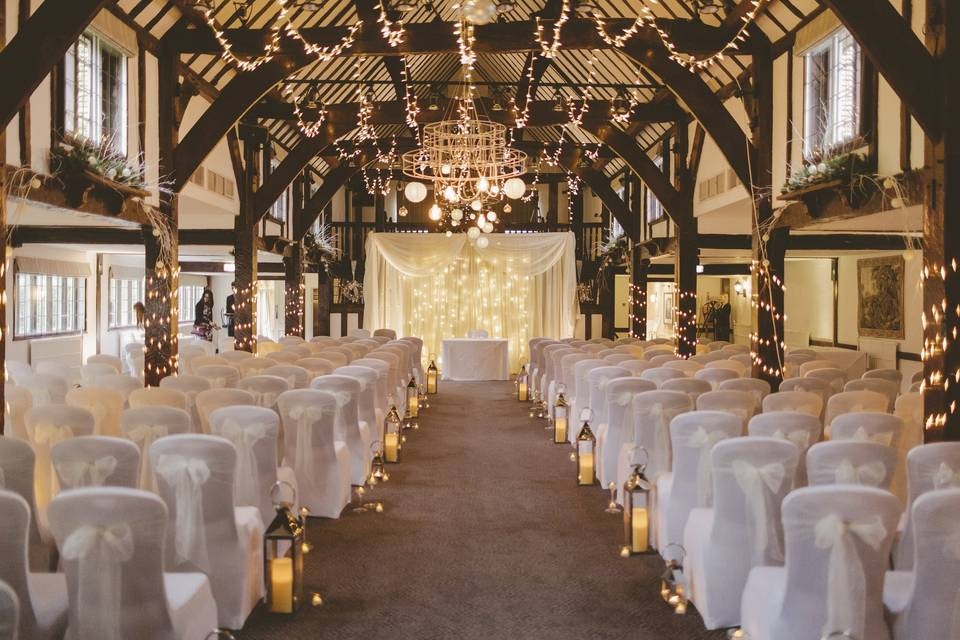 Charmingly decorated ceremony space