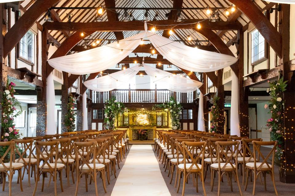Lovely indoor ceremony space