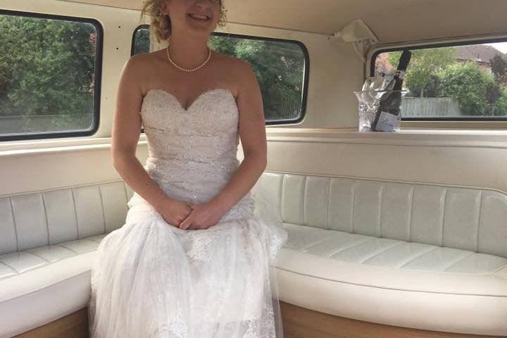 Beautiful bride in the camper