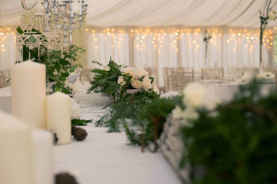 Garlands and candles