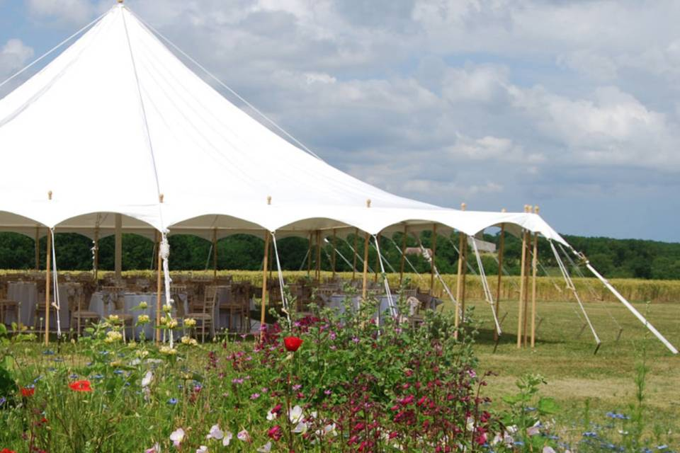 Petal pole marquee countryside setting