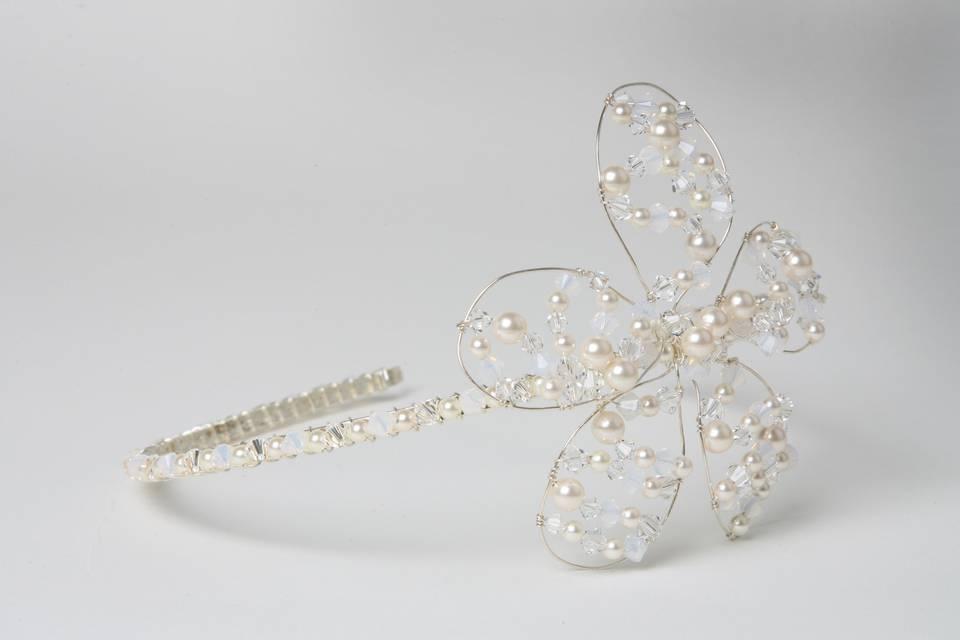 Crystal & Pearl Flower Tiara