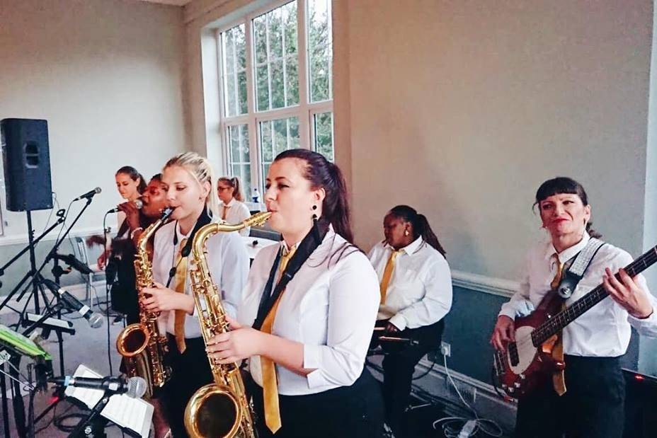 The big band performs
