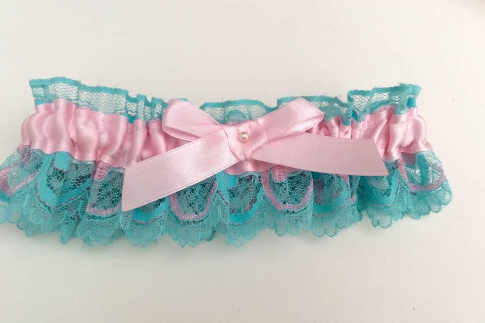Aqua blue and pink garter