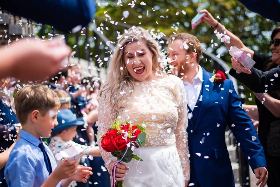 Wedding confetti shot photo