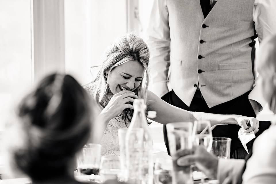 Bride at wedding breakfast