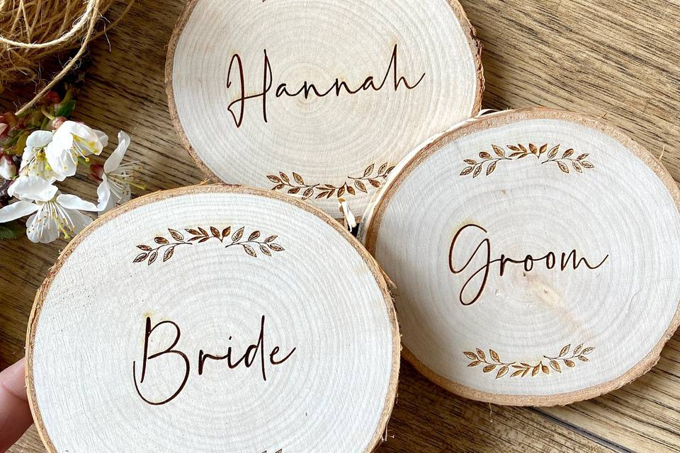 Personalised place settings and coasters