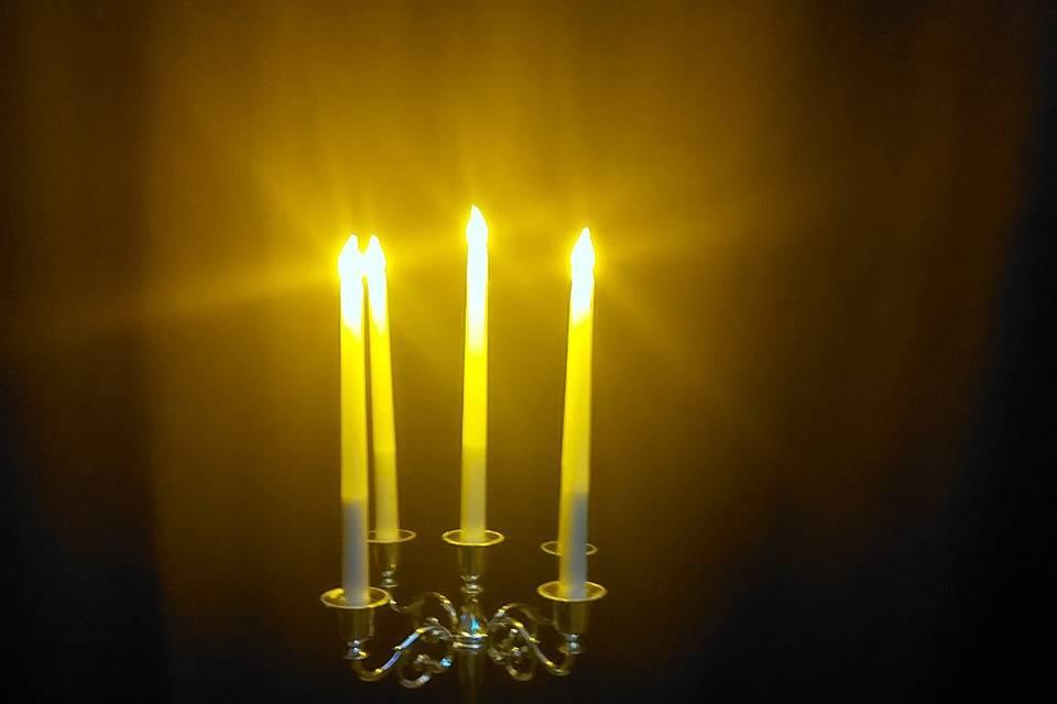 Lit LED candles candelabras