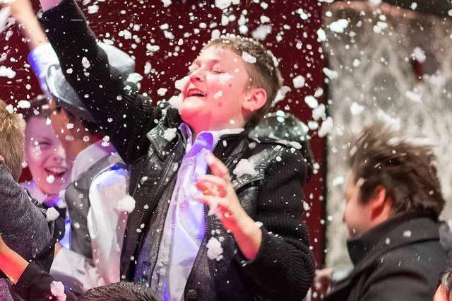 Kids enjoying bubbles and foam