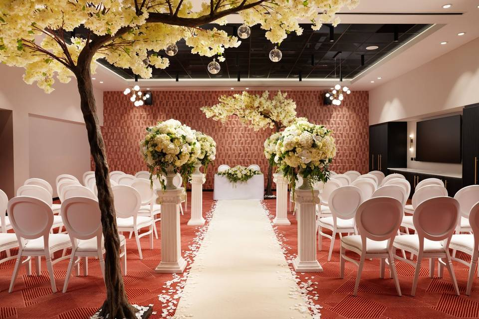 Ceremony with blossom trees