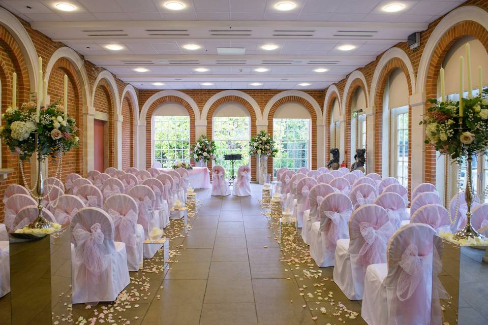 The Orangery laid for a Christmas Ceremony