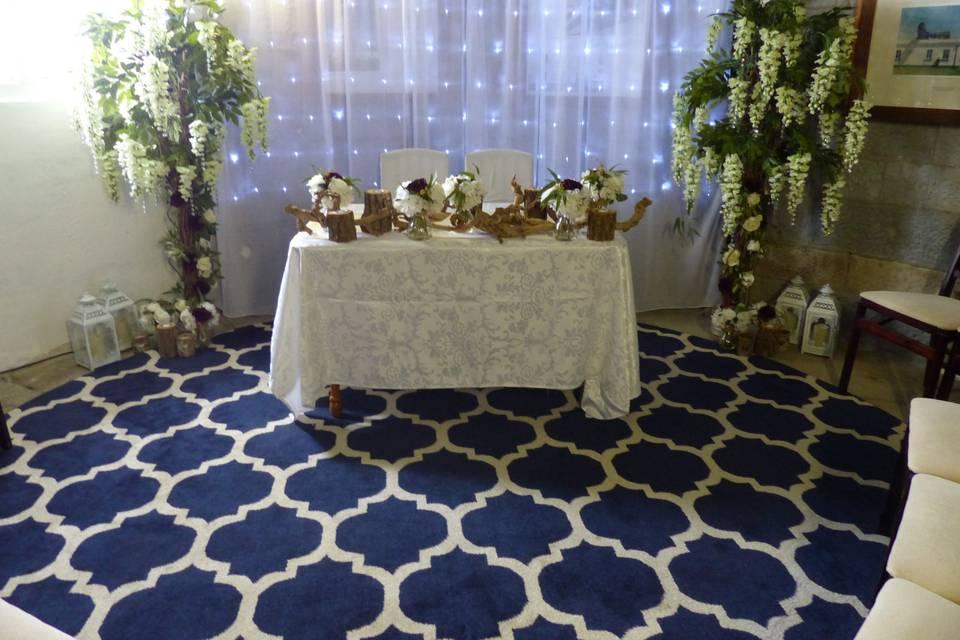 Colourful wedding setup