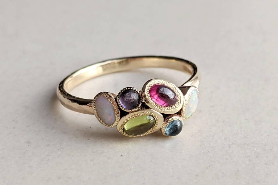 Multi colour gem ring