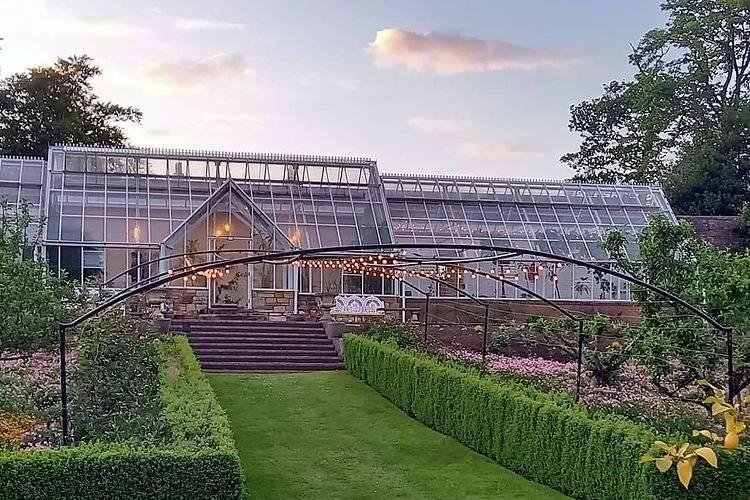 Greenhouses at dusk