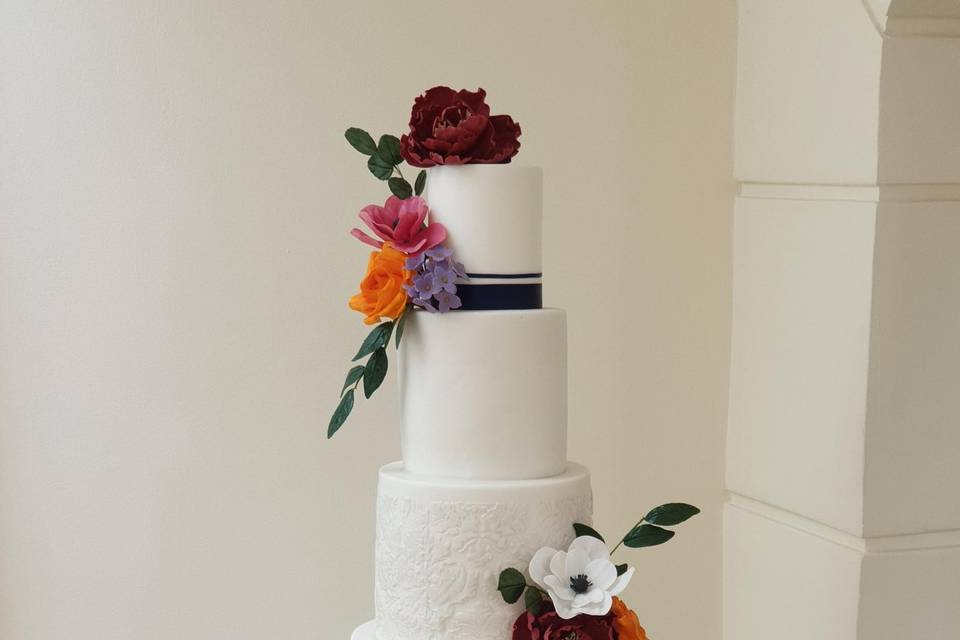 5-tier with sugar flowers