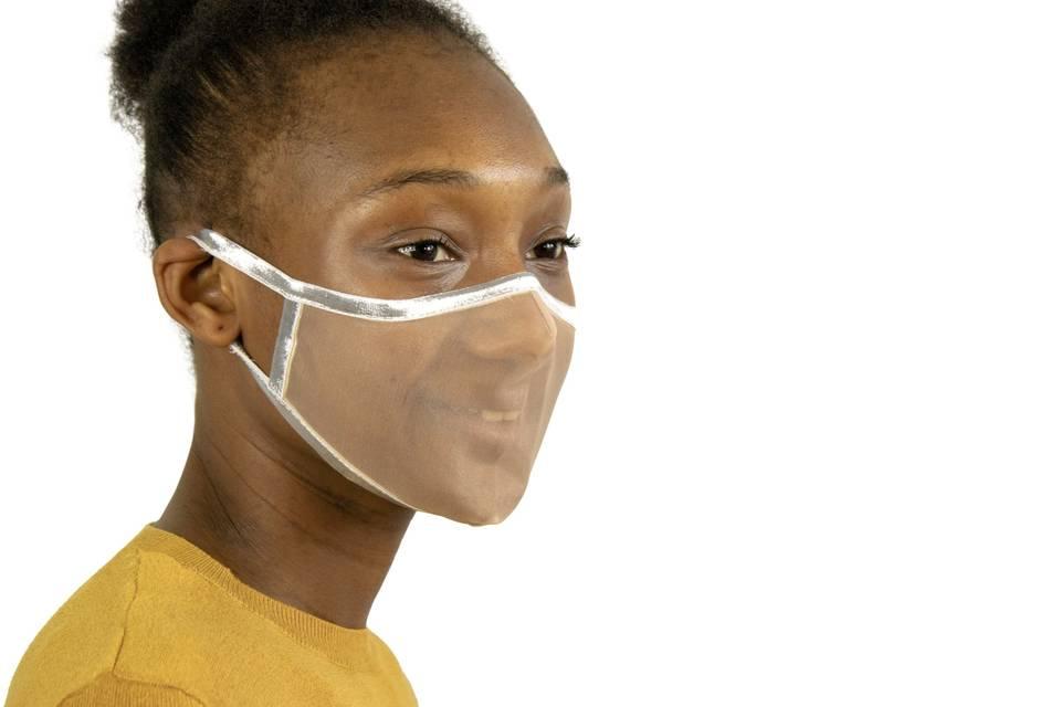 Silver see-through face mask