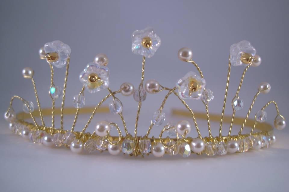 AB Clear Crystal & Pearl Bridal Tiara