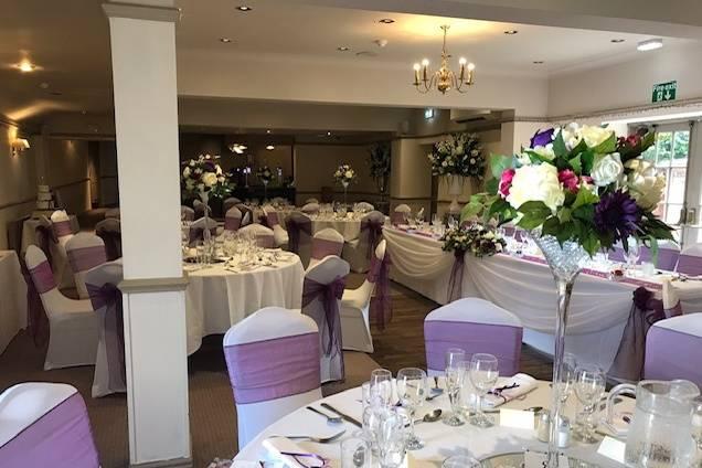 White and purple décor